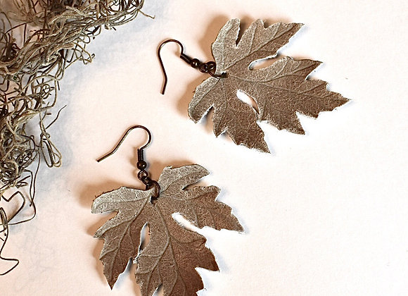 Large Sage Gray Maple Leaf Earrings