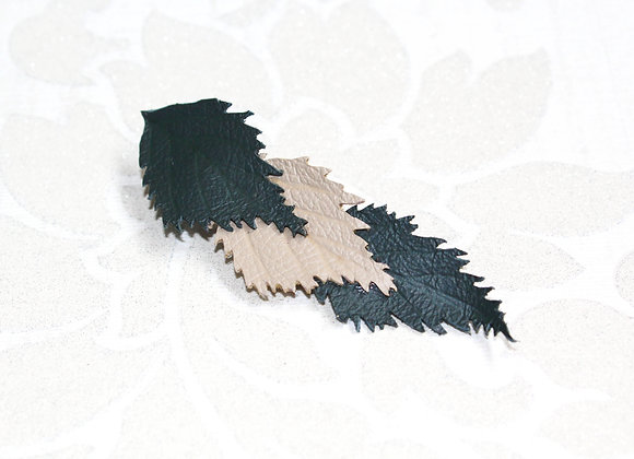 Green and White Leaf Leather Hair Clip