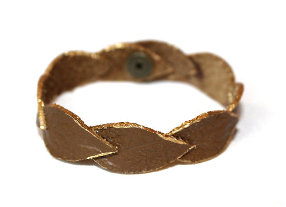 Small Thin Olive Brown with Gold Edge Laurel Leaf Leather Bracelet