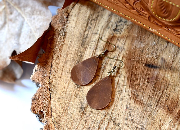 Small Teardrop Weathered Brown Leather Earrings