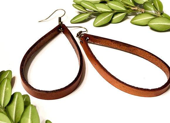 Large Leather Teardrop Hoop Dangle Earrings