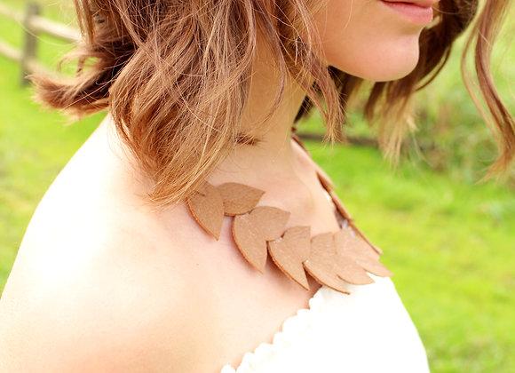 Tan Laurel Leaf Leather Statement Collar Necklace