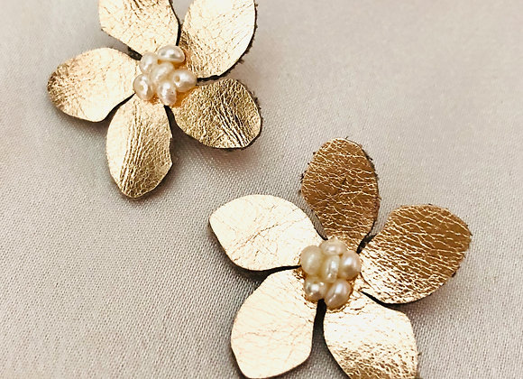 Rose Gold Leather Cherry Blossom Post Earrings, White Pearls