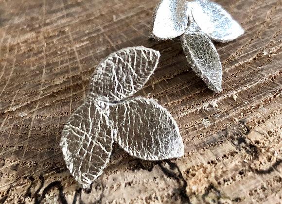Champagne Gold Tri-Leaf Post Earrings