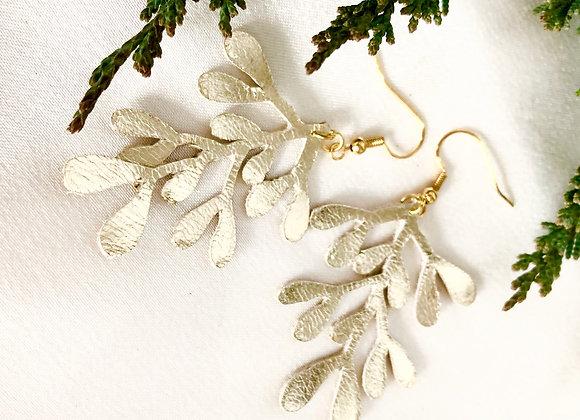 Champagne Gold Metallic Leather Mistletoe Dangle Earrings