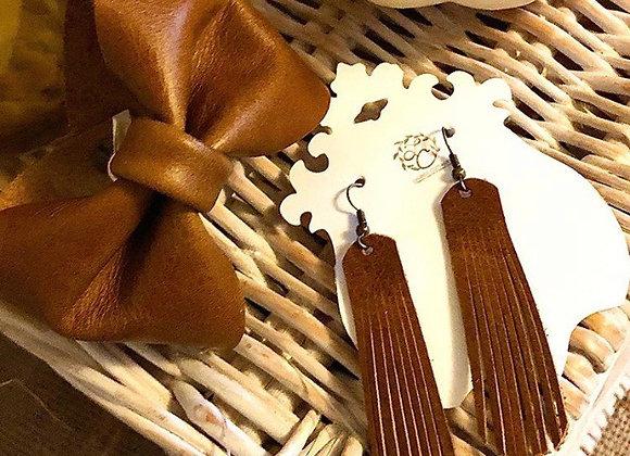Sienna Brown Bow Tie Leather Cuff Bracelet