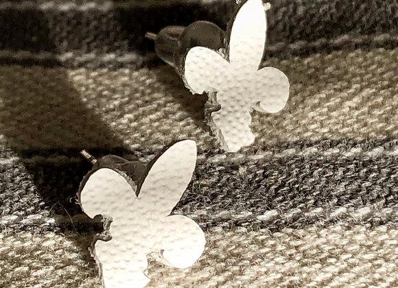 Small White Fleur De Lis Post Earrings