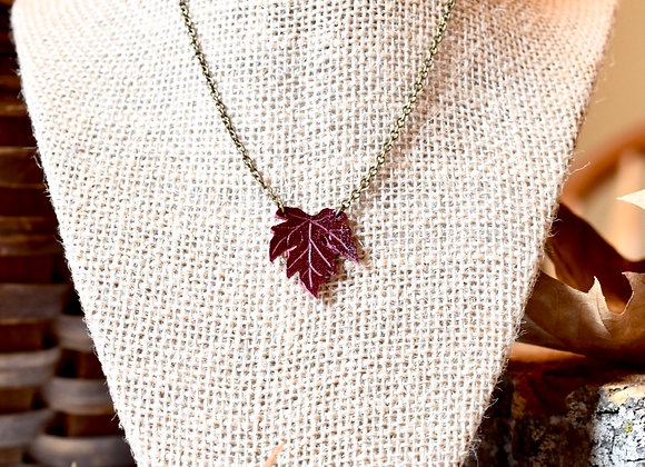 Small Maple Leaf Burgundy Leather Necklace