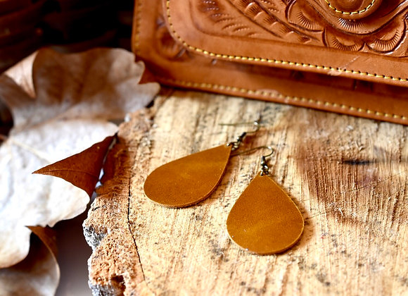 Medium/Large Teardrop Sienna Brown Leather Earrings