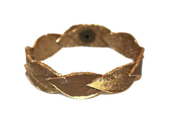 Small Olive Brown and Gold Laurel Leather Leaf Bracelet
