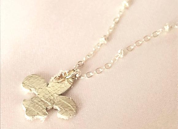 Gold Metallic Leather Fleur de lis Pendant Necklace