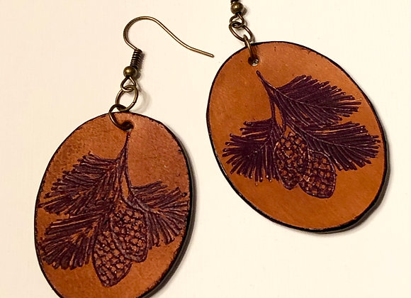 Engraved Leather Vintage Pine Cone Earrings