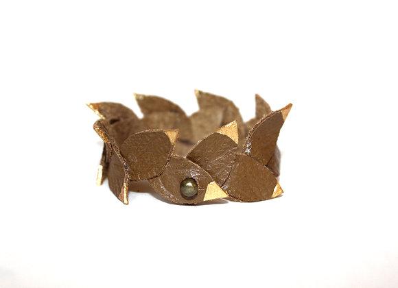 Golden Tip Laurel Leaf Leather Bracelet