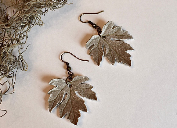 Medium Sage Gray Maple Leaf Earrings
