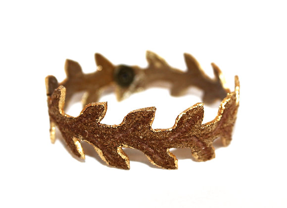 Small Thin Brown Golden Trim Laurel Leaf Bracelet