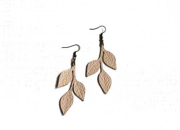 White Three Leaf Earrings