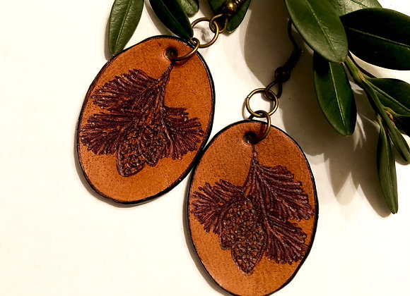 Small Engraved Leather Pine Cone Earrings