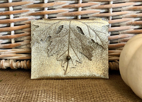 Champagne Gold Shimmer Maple Leaf Leather Coin Purse Wallet