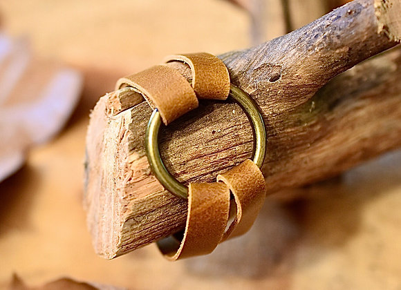 Brass Ring Sienna Brown Leather Bracelet