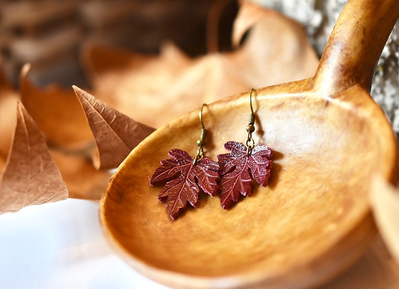 Small Maple Leaf Burgundy Leather Earrings