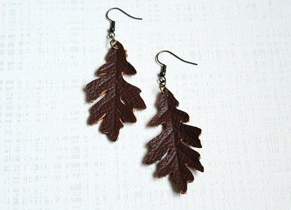 Single Brown Leather Oak Leaf Earrings