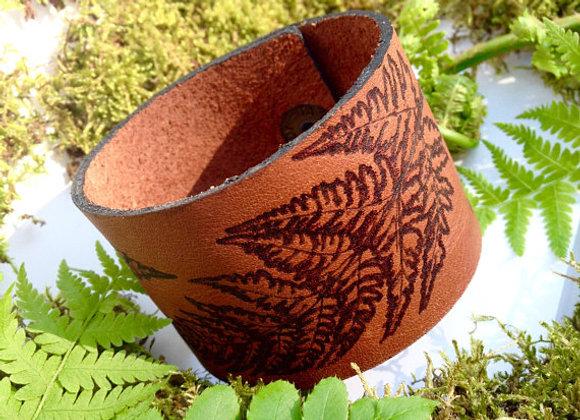 Fern Leaf Leather Cuff Bracelet, Woodland Accessories, Botanical Jewelry, Forest