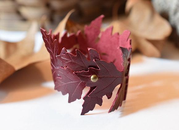 Burgundy Maple Leaf Leather Cuff