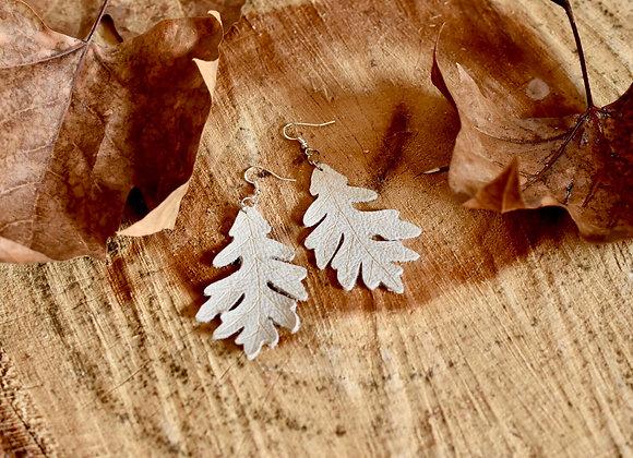 Cream Leather Large Oak Leaf Earrings