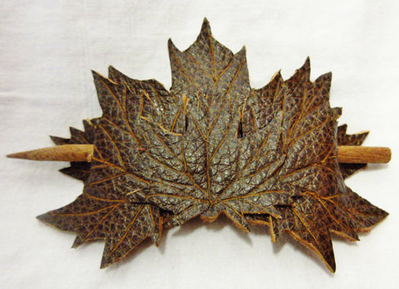 Tooled Leather Leaf Hairpiece, Leather accessories, Leaf hair