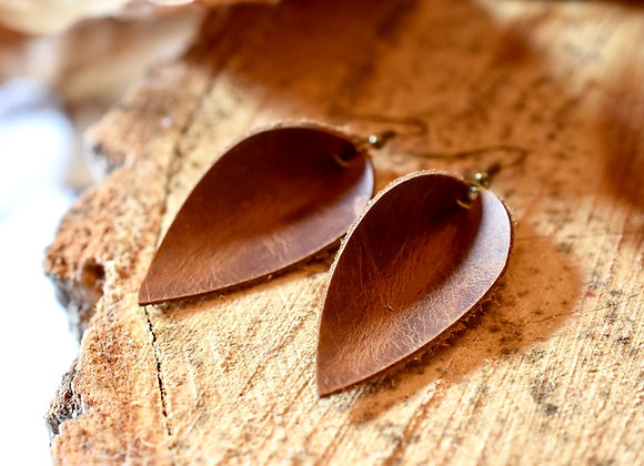 Medium Folded Leaf Weathered Brown Leather Earrings