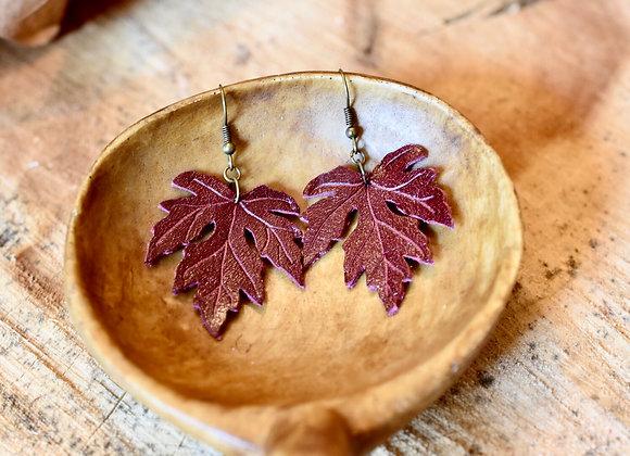 Medium Burgundy Leather Maple Leaf Earrings