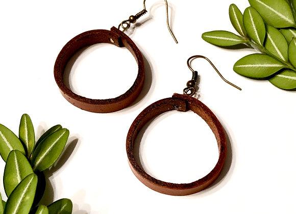 Medium Round Leather Hoop Dangle Earrings