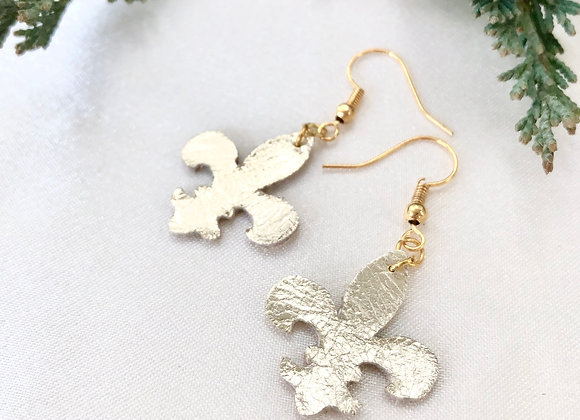 Champagne Gold Metallic Leather Fleur-de-lis Dangle Earrings