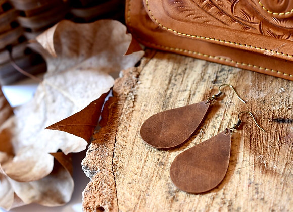 Medium Teardrop Weathered Brown Leather Earrings