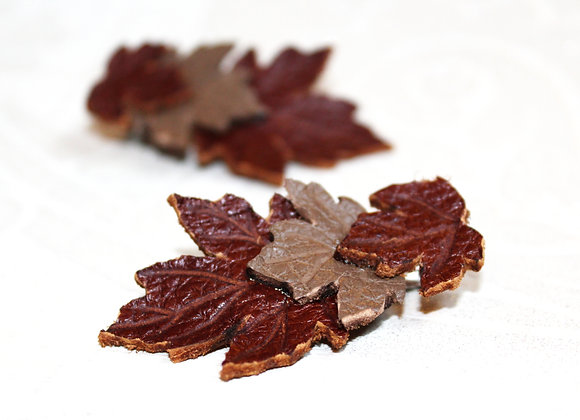 Pair of Maple Leaf Leather Hair Clips