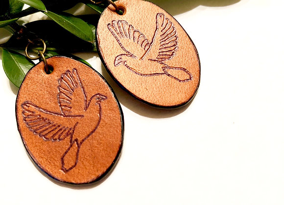 Small Engraved Leather Dove Earrings