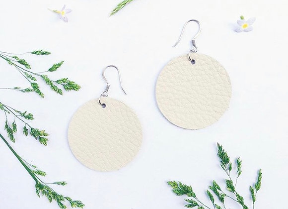 Round Disk White Leather Earrings