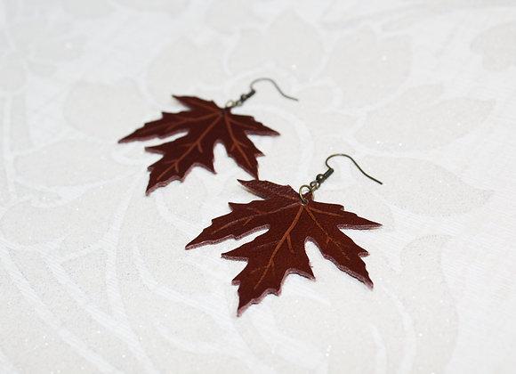 Brown Maple Leaf Leather Earrings