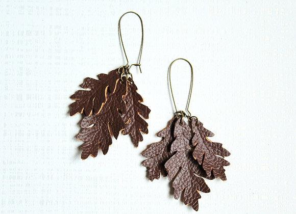 Three Oak Leaf Earrings