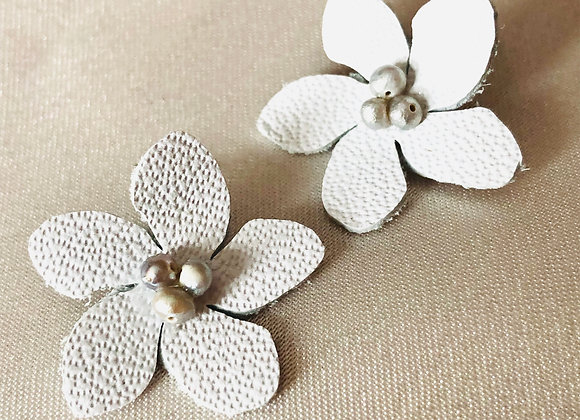 White Leather Cherry Blossom Post Earrings, Gray Pearls