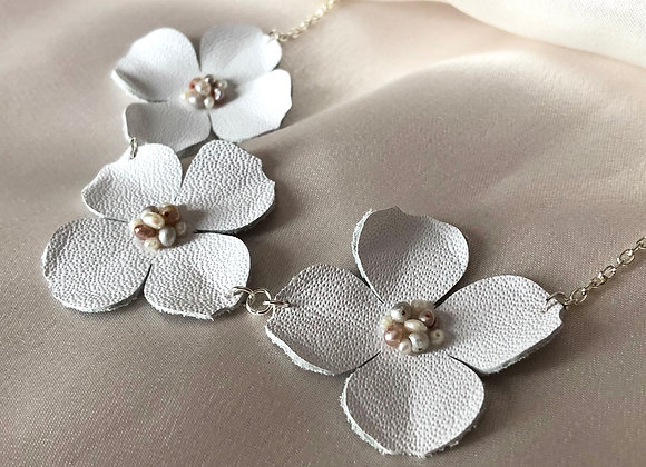 White Leather and Freshwater Pearl Three Dogwood Flower Statement Necklace