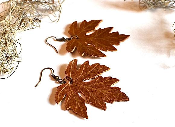 Large Sienna Brown Maple Leaf Earrings