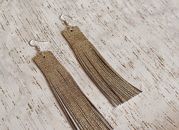 Long Champagne Shimmer Leather Fringe Earrings