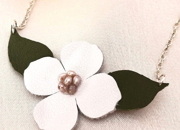 White Leather and Freshwater Pearl Dogwood Flower Statement Necklace