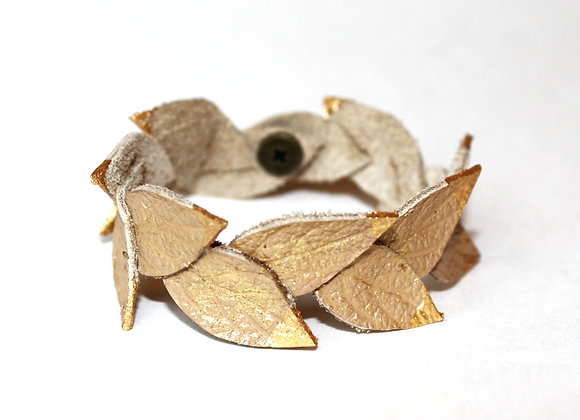 Golden Laurel Leaf Leather Bracelet