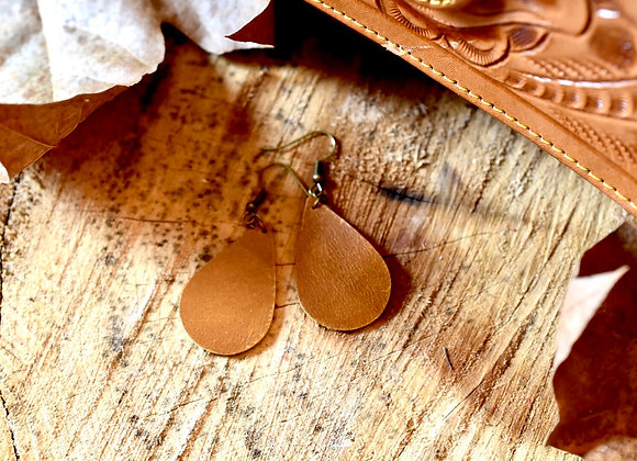 Small Teardrop Sienna Brown Leather Earrings