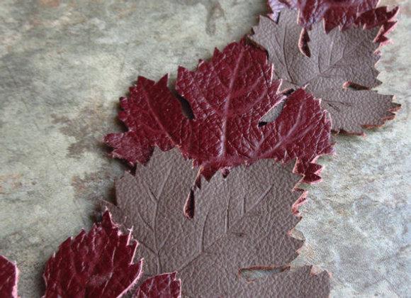 Leather Cuff Grape Leaf Bracelet, Hand Tooled Leather Jewelry