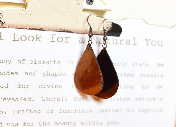 Metallic Brown Bronze Teardrop Leather Earrings