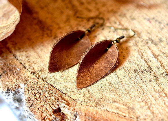 Small Folded Leaf Weathered Brown Leather Earrings