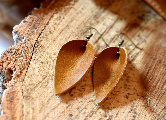 Medium Folded Leaf Sienna Brown Leather Earrings